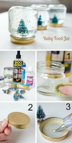 Craft some mini snow globes. | 23 Insanely Cool Things You Can Do With Baby Food Jars