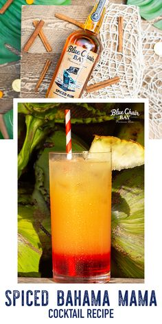 It's tiki time with this fruity drink! This Spiced Bahama Mama rum cocktail recipe is perfect for your tiki party. Shake to combine. Garnish with a pineapple slice and cherry. #bluechairbay #spicedrum  #BCBHappyHour Fruity Drinks, Fun Drinks, Alcoholic Drinks, Rum Cocktail Recipes, Cocktails, Drink Recipes, Bahama Mama Cocktail, Mama Photo, Cocktail