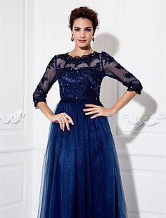 A-line Jewel Floor-length Tulle Evening Dress (9526) - USD $ 109.99