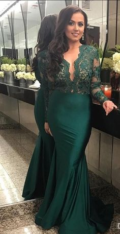 84b3ae29e3 Elegant Long Sleeves Lace Prom Dresses Mermaid Dark Green Sheer Keyhole  Neck Women Formal Party Evening Gowns