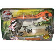 """Jurassic Park Deluxe T-Rex Exclusive by Hasbro. $299.99. Cut out vehicle on back of package. Motion activated Stomp sounds when in full play mode. Attack & chomping sounds. Includes General figure & firing launcher. From the manufacturers package: With a mighty roar, the Tyrannosaurus Rex grabs the forest hunter General and opens his jaws wide to chomp the brave hunter.  The General fire his """"tranquilizer"""" gun and knocks out the hungry dino.  As the T-Rex naps, the General escapes!"""