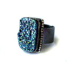 Aqua Drusy Statement Ring- Handmade Sterling Silver