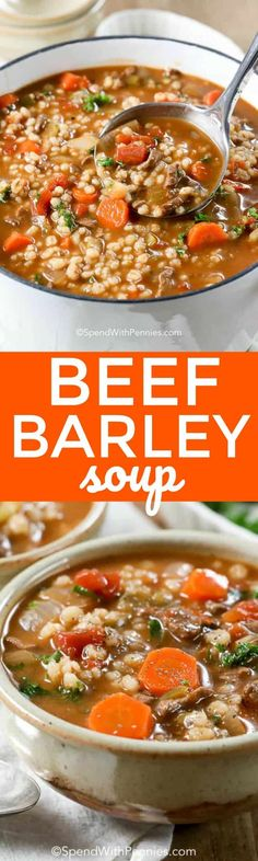 This easy homemade beef barley soup is a family favorite... fresh veggies, plump barley and tender beef make this soup healthy and hearty! #soup #healthysoup #beefbroth #barley #beef #easysoup #dinner