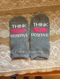 Think Positive socks IUI IVF pregnancy by FulksCreations on Etsy