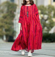 Cotton Floor length dress, oversized dress in red, maxi dress, high waist dress, Full Length Dress Long Summer Dresses, Loose Dresses, Maxi Dresses, Tie Dye Maxi, Oversized Dress, Floor Length Dresses, Mode Hijab, Everyday Dresses, Mode Inspiration