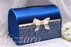 Boda caja azul - mano-PAINTED-boda caja tarjeta titular boda dinero caja boda regalo boda tarjeta caja personalizada boda caja