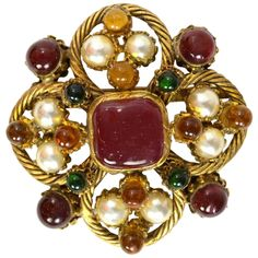 0fea9afccc81 Chanel Multi-Color Gripoix Poured Glass and Faux Pearl Vintage Brooch Pin