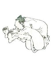 葛飾北斎 Katsushika Hokusai 「北斎漫画 八編十ニ丁裏・十三丁表 無礼講(部分)」