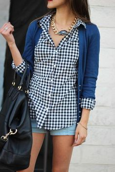gingham / cardigan / denim shorts