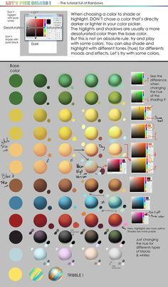 Shading color tutorial in a picture