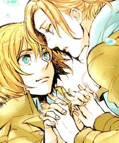 Armin x Annie. I don't ship them, but this image was too cute not to repin.