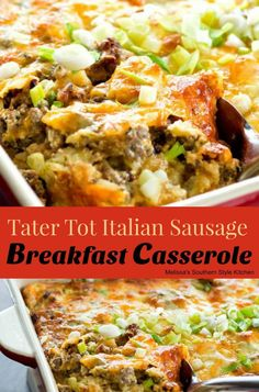Tater Tot Italian Sausage Breakfast Casserole filled with tater tots, sausage and cheese will be the star of your brunch table. Italian Sausage Breakfast Recipe, Italian Sausage Casserole, Italian Breakfast, Fast Food Breakfast, Breakfast Dishes, Breakfast Time, Breakfast Recipes, Brunch Dishes, Tater Tot Breakfast Casserole