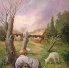 Notice the farmer who forms the nose and mustache of the face.