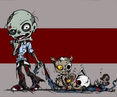 Zombie and Zombie Kitty Color by ~meesh23 on deviantART