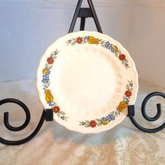 Vintage Fruit Pattern China Bread and Butter Plate by vintagepoetic on Etsy