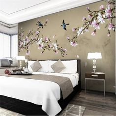 Bedroom Murals, Bedroom Wall Designs, Wall Murals, Creative Wall Decor, Creative Walls, Custom Wallpaper, Wall Wallpaper, Photo Wallpaper, Oriental Bedroom