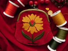 mini purse embroidered with wool thread