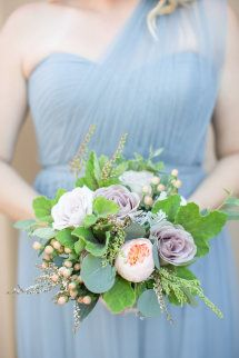 Pretty gray one-shoulder bridesmaid gown: http://www.stylemepretty.com/arizona-weddings/paradise-valley/2015/08/26/rustic-romantic-arizona-summer-wedding/ | Photography: Amy & Jordan - http://amyandjordan.com/