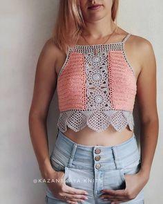 Important 60 Crochet ideas . Crochet Bra, Crochet Halter Tops, Crochet Shirt, Crochet Crop Top, Crochet Cardigan, Love Crochet, Vintage Crochet, Crochet Clothes, Crochet Ideas