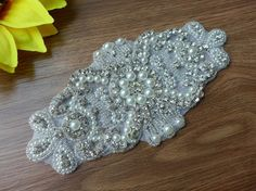 Crystal Rhinestone Applique with Pearls for Wedding by lacelindsay