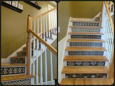 Staircase Ideas / Stair Riser Ideas from Tribute Designs on Etsy. You're looking at the 'Beautiful Browns' collection installed in a client's home. These hand-painted stair risers added SO much style and interest to this foyer! Painted Stair Risers, Painted Staircases, Staircase Ideas, Stairways, Etsy Handmade, Foyer, Basement, Hand Painted, Living Room
