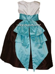 Pegeen flower girl dress in Chocolate brown and Tiffany blue - style 345