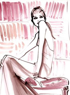 Izak Zenou watercolor fashion illustration