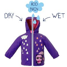 24e637db74 Panda Colour Changing Purple Child s Rain Coat