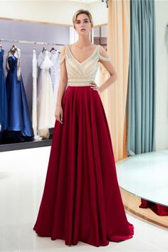 Stunning V Neck Cold Shoulder Crystal Beaded Champagne Bodice Red Skirt Maxi A Line Prom Evening Dress Red Satin Prom Dress, Chiffon Evening Dresses, Long Evening Gowns, Backless Prom Dresses, A Line Prom Dresses, Tulle Prom Dress, Wedding Dresses, Party Dress, Modest Wedding
