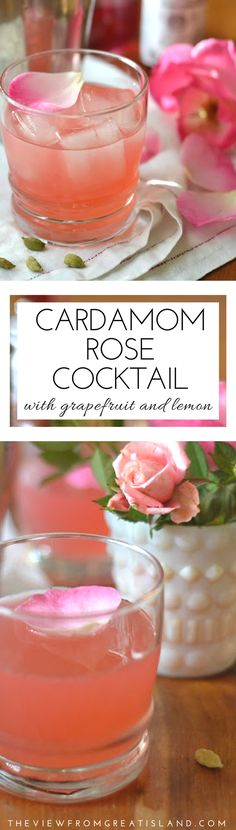 The Cardamom Rose Cocktail is a special occasion cocktail that will take you from New Year's Eve, to Valentine's Day, and all the way back to the winter holidays! | Edible Flowers