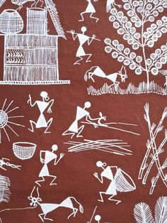 This small Warli Painting from Maharashtra shows a village scene where baskets are being made and bamboo being brought to the village. Worli Painting, India Painting, Buddha Painting, Tribal Art, Tribal Prints, Making Baskets, Art Village, Indian Folk Art, Madhubani Painting