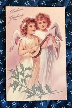 Two Angels Singing Publisher: PFB Postmark: PM City: Norwalk PM State: CT Stamp: Size: x x 14 cm) Additional Details: Christmas greetings. Vintage Christmas Cards, Christmas Greeting Cards, Christmas Greetings, Christmas Postcards, Victorian Christmas, Photo Postcards, Vintage Postcards, Vintage Images, Vintage Stationary