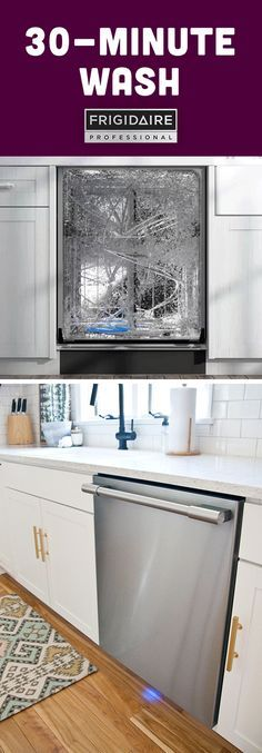 The 30-minute wash cycle on our Frigidaire Professional dishwasher means a powerful clean, fast.