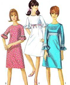 1960s Dress Pattern Simplicity 6441 Mod Empire by paneenjerez, $10.00