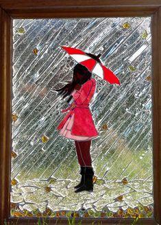 """NOVEMBER RAIN"" Glass on Glass Mosaic... #StainedGlassKids"
