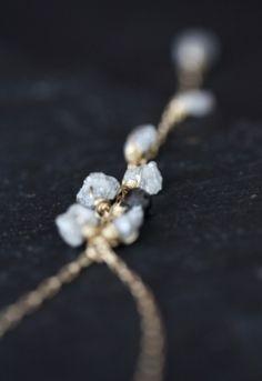 Rough Diamond and Black Diamond Cascade Necklace 14kt by LexLuxe