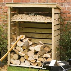 The Rowlinson Small Log Store will help to keep your logs neat and tidy by providing you with a useful storage space. Outdoor Firewood Rack, Firewood Shed, Firewood Storage, Wood Storage Rack, Wood Storage Sheds, Outdoor Storage Sheds, Small Wood Shed, Wood Fuel, Wood Shed Plans