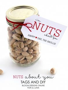 Adorable Nuts About You Jar perfect for Valentine's Day. Free prints on { lilluna.com }