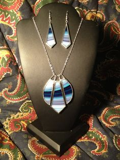 Powder Blue, Royal Blue, and Sky Blue Stained Glass Necklace/Earring Set More