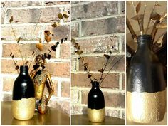 Previous life: Tonic water glass bottle :( Present life: Decorative Black & Gold Vase Future life: who cares???? I love sitting in between these beautiful brass sculptures on a brass finish West Elm side table! Better than being sitting in stinky landfills! **For folks interested in materials used: glass bottle, acrylic paint, aluminum foil, mod …    Read More »  #Painted, #Upcycled #RecycledGlass Glass Bottle Crafts, Glass Bottles, West Elm Side Table, Old Sewing Machines, Gold Vases, Water Glass, Recycled Glass, Dried Flowers, Black Gold