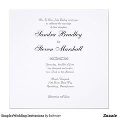 "Simple1Wedding Invitations 5.25"" Square Invitation Card"