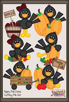Happy Fall Crows Cutting File Set by PaperPiecingsbyNikki.com for $8.99    Possible to use the SU ornament punch and owl punch for the tuft of hair and Modern Label for the wing?  Heart or Blossom/petal punch for the beak?