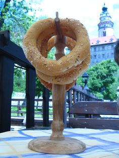 Hard as rock pretzel rings at a great cafe on the river in Cesky Krumlov with a stunning cupola in the background. G tried to eat one... i'm surprised he didn't break his teeth. I snickered... loudly...