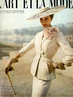 1953 Marie-Thérèse wearing a suit by Pierre Balmain, cover by Georges Saad 50s white suit jacket skirt color photo print ad model magazine
