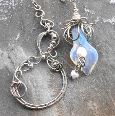 Silver necklace loop with Calle opal and pearls Ooak necklace