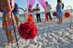Orange and Hot Pink Beach Wedding Ceremony Decorations