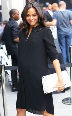 It's Glow Time from Zoe Saldana's Pregnancy Style Whew! The pregnant star is glowing in a chic black shirt-dress.