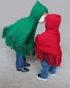 Pattern for Knitted Hooded Childrens Ponchos PDF by SuzySpecials