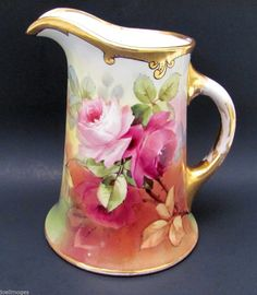 Lovely Hand Painted Antique Guerin Limoges Porcelain Roses Pitcher White's Art