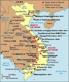 A map of Vietnam during the war. Includes all the colonies, communist territory, south Vietnam territory, and major battles. How did this map change over the course of the war? Vietnam Map, Vietnam History, Vietnam War Photos, North Vietnam, Vietnam Veterans, Vietnam Travel, Asian History, World History, History Books